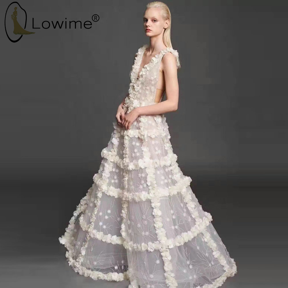 2020 Sexy Deep V Neck Lace Evening Dresses A Line Floor Length Long Robes Vestido De Soiree