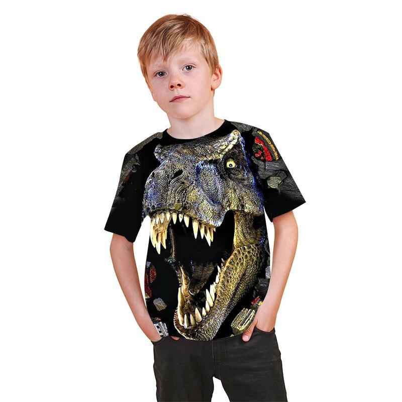 Футболка детская с 3D-принтом головы динозавра Юрского периода, Классная рубашка в стиле хип-хоп, цветная одежда для мальчиков и девочек, Пря...