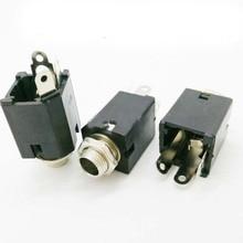"""50 stuks 6.35mm 6.35 6.5mm 1/4 """"3 Voet Mono Vrouwelijke Socket Audio Microfoon/Gitaar Jack Panel mount Soldeer Connector"""