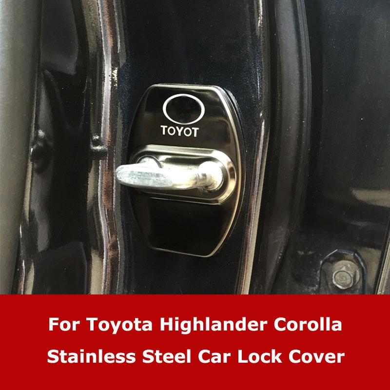 Paslanmaz çelik araba kapı kilidi kapağı Toyota Highlander Prado YARiS Corolla 07-13 koruyucu kapaklar araba aksesuarı