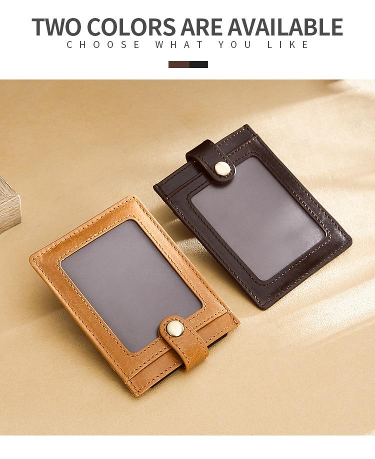 RFID Blocking Genuine Leather Card Holder Belt Hasp Men Women ID Credit Card Case Transparent Window Business Card Holder