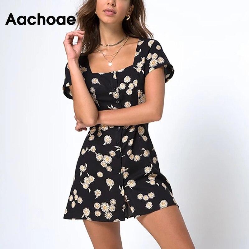 Aachoae Women Elegant Floral Print Summer Mini Dresses 2020 Short Sleeve Vintage Party Dress Boho Square Collar Button Up Dress