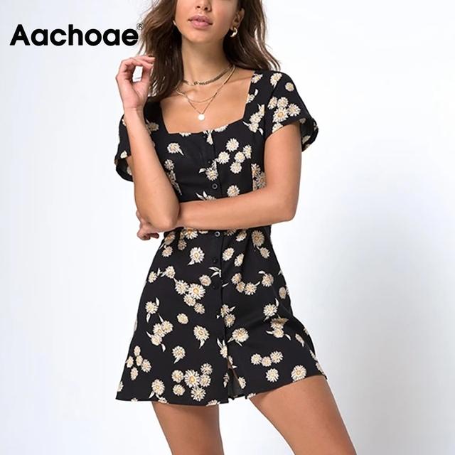 Women Elegant Floral Print Summer Mini Dresses