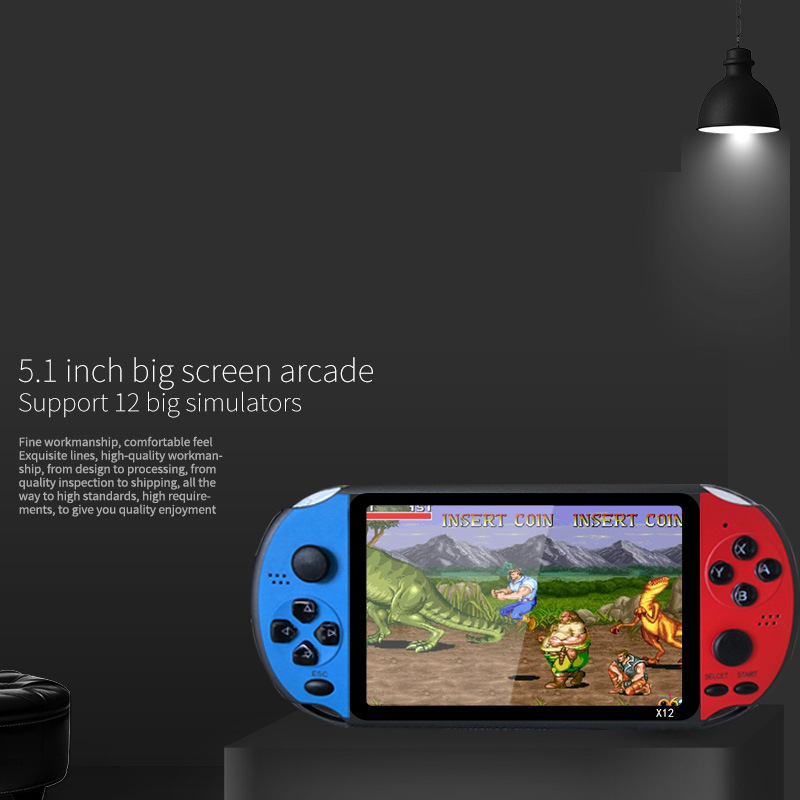 X12 PLUS 5.1 Inch Handheld Video Game Console 8GB Built-In 2000 Games for FC GBA NES Game Player Machine Kids Christmas Gift(Blu