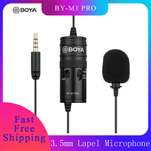 BOYA BY M1 פרו Omni directional Lavalier מיקרופון מיקרופון יחיד ראש קליפ על הקבל מיקרופון עבור Smartphone DSLR למצלמות אודיו