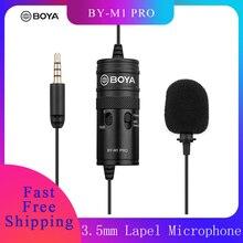 BOYA BY M1 Pro Microphone de Lavalier omnidirectionnel micro à condensateur à pince à tête unique pour Smartphone DSLR caméscope Audio