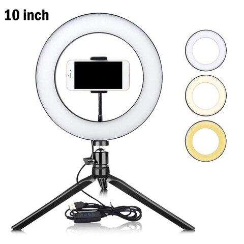 6 3 10 polegada zdm led selfie anel luz pode ser escurecido led anel lampada