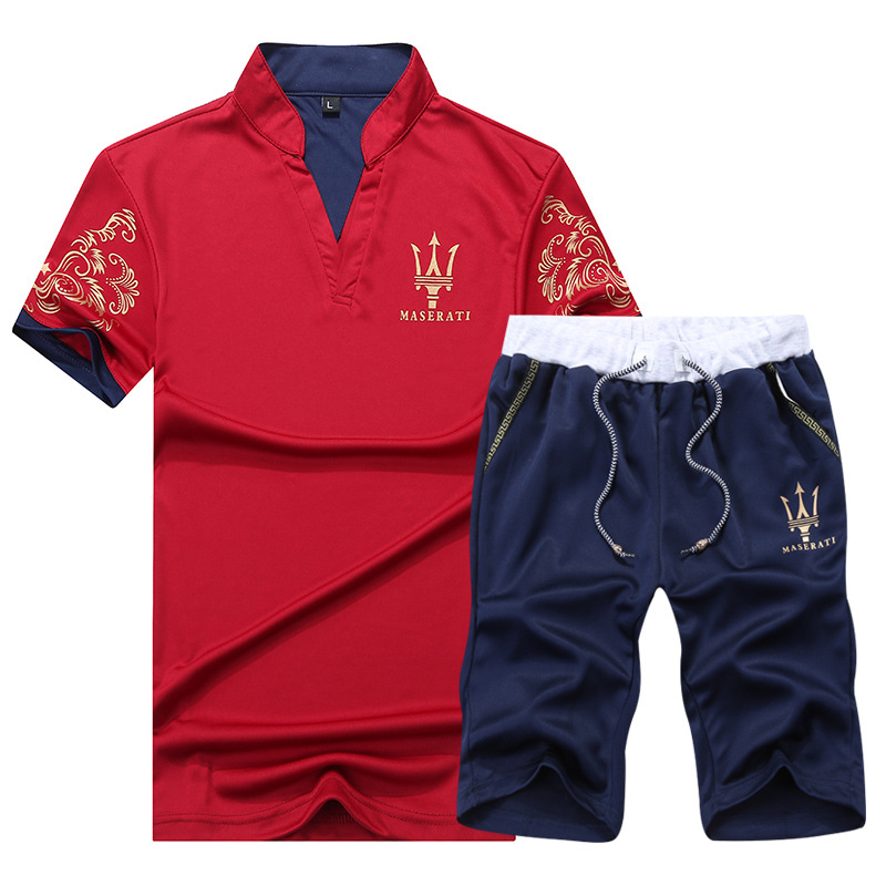 Summer MEN'S Short-sleeved T-shirt Korean-style Leisure Sports Suit Handsome A Set Of Half Sleeve Clothes