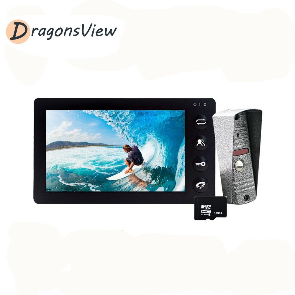 Dragonsview Video Door Phone Intercom System 7 Inch White Indoor Monitor 1200TVL IR Night Vision Rainproof Outdoor Doorbell