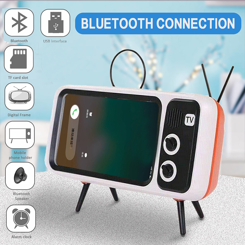 2 In 1 Retro TV Phone Holder Portable Wireless Bluetooth Bass Speaker Music Player Mobile Phone Holder Stand Drop Shopping