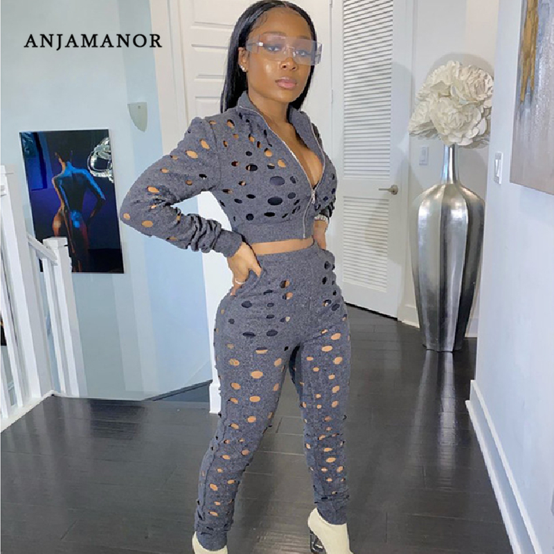 ANJAMANOR Hollow Out Holes Jacket Pants Sexy 2 Piece Set Tracksuit Women Clothes Sports Two Piece Outfits Matching Sets D37-BZ65
