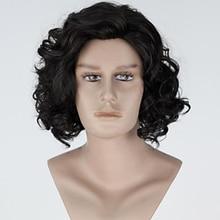 Peruca encaracolado de fibra resistente ao calor parte média do cabelo sintético jon snow cosplay perucas