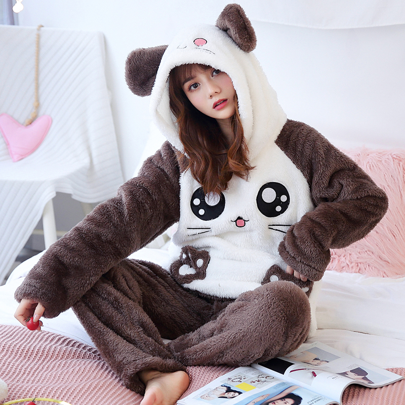 Christmas Pajamas Women WAVMIT Winter Wool Warm Velvet Thickening Flannel Sleepwear Set Cute Hooded Pajamas Loungewear Women