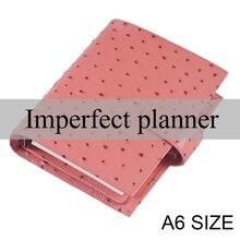 Cuaderno A6 con diseño de anillo de cuero auténtico, organizador de cuaderno con diseño de avestruz, con bolsillo grande