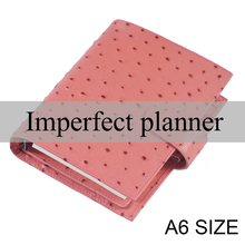 Limited Imperfect Genuine Leather Rings Notebook A6 Planner Ostrich Grain Organiser Journal Sketchbook Agenda With Big Pocket