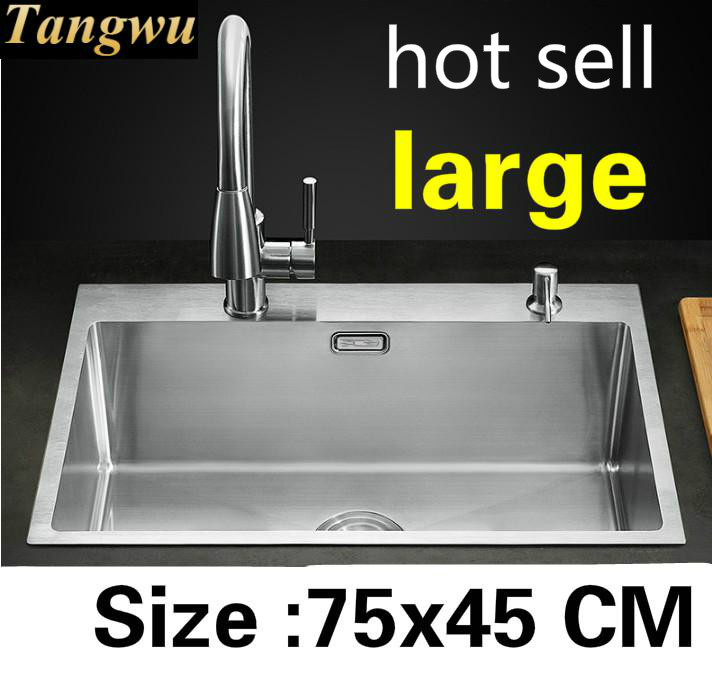Free Shipping Hot Sell Kitchen Manual Sink Single Trough Vogue Do The Dishes 304 Stainless Steel Large 75x45 CM