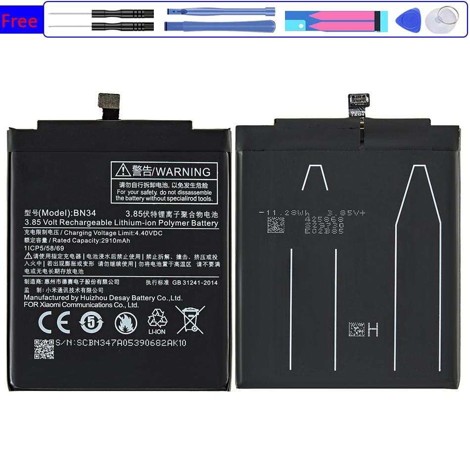 BN34 Мобильный телефон батарея для XIAOMI Redmi 5A, запасная батарея, батарея на BN34 2910 мА ч|Аккумуляторы для мобильных телефонов|   | АлиЭкспресс