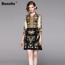 Banulin Runway 2019 Women Vintage Flower Embroidery Print Elegant Dress Summer Autumn Robe Femme Luxious Slim Party Vestidos цена