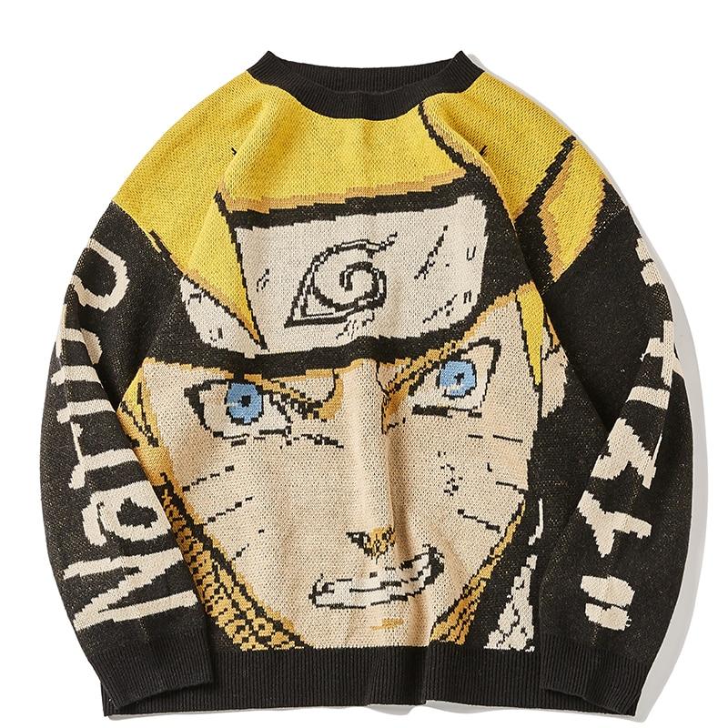 Harajuku свитер в стиле аниме для мужчин больших размеров пуловер в стиле хип-хоп Уличная 2020 Новинка осени с О-образным вырезом мужские мужская ...