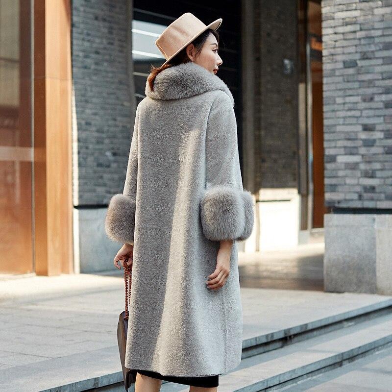 New Wome's Real Fur Coat Women Winter 100% Wool Long Warm Sheepskin Shearing Coat Natual Fox Fur Parkas Mujer 2343