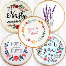 Iniciante handwork starterpainting bordado aro ponto cruz kit decoração de casa decoração da parede flores artesanato carimbado roscas ferramenta