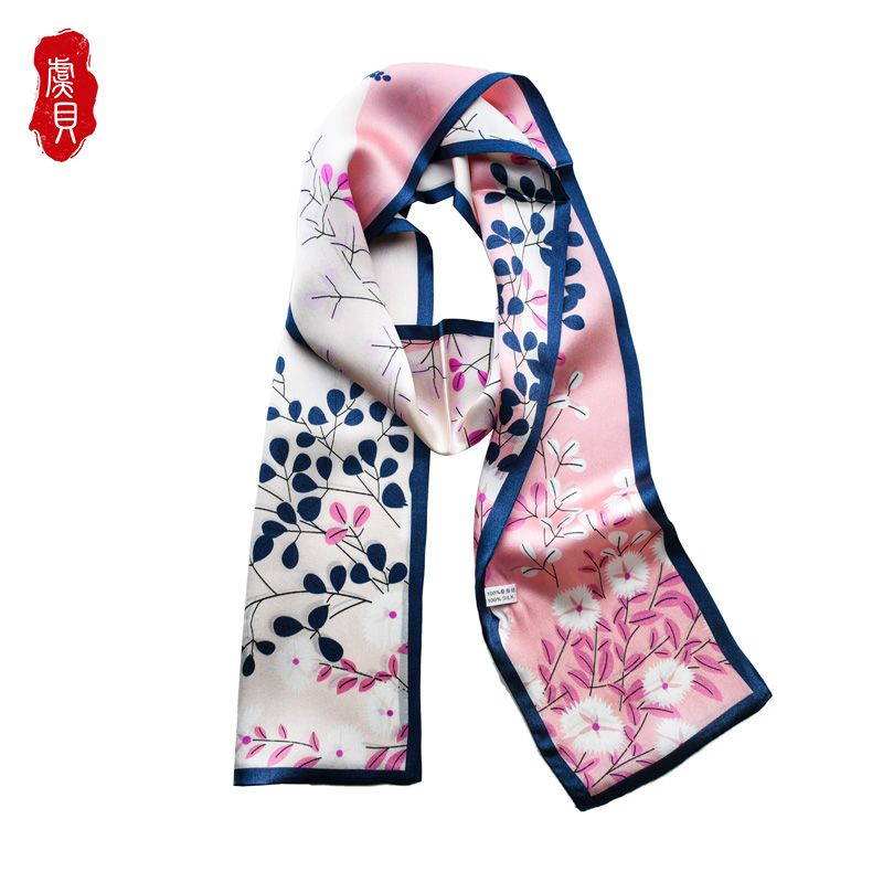Natural silk long scarf women pink luxury hairband narrow scarves small neckerchief summer headband ribbons gift for lady girl|Women's Scarves| - AliExpress