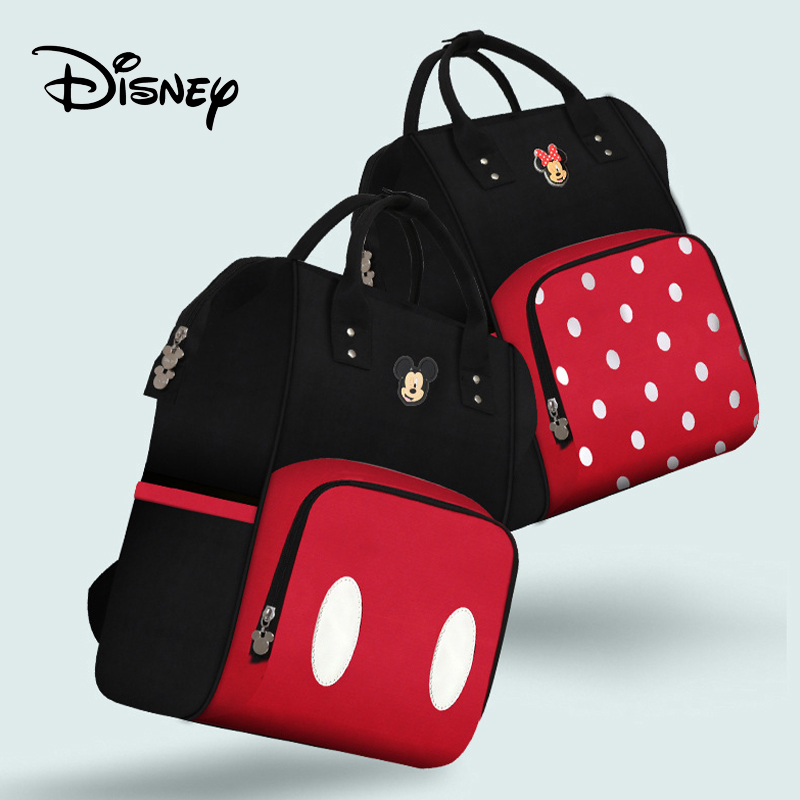 Disney Cute Mickey Minnie  Baby Diaper Backpack With Usb Mommy Bag Waterproof Maternity Large Nappy For Mom Multifunctional