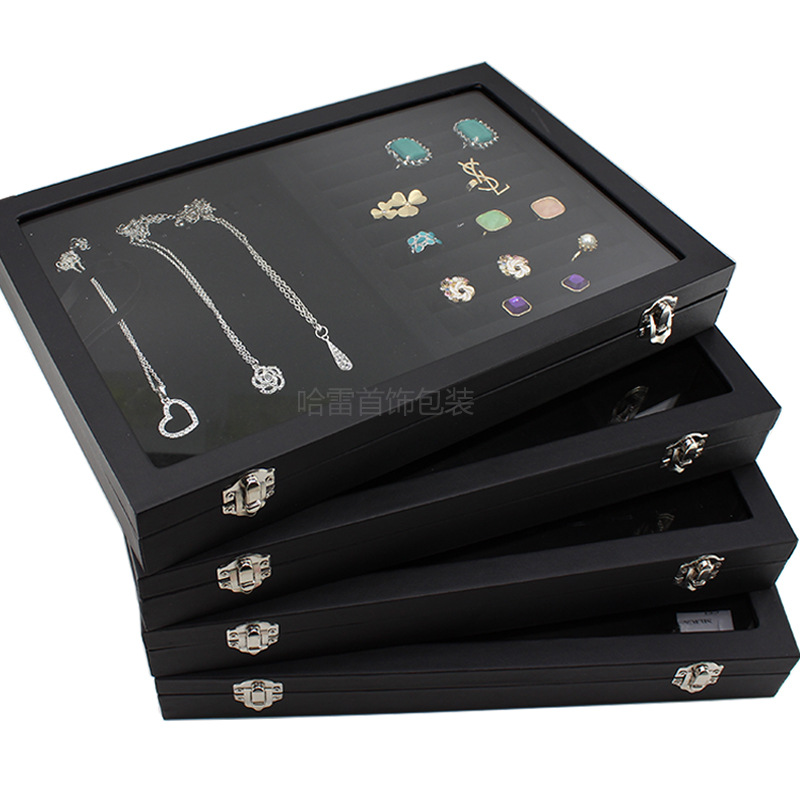 Big Velvet Black Carrying Case With Glass Cover Jewelry Ring Display Box Tray Holder Storage Box Organizer Earrings Ring Bracele