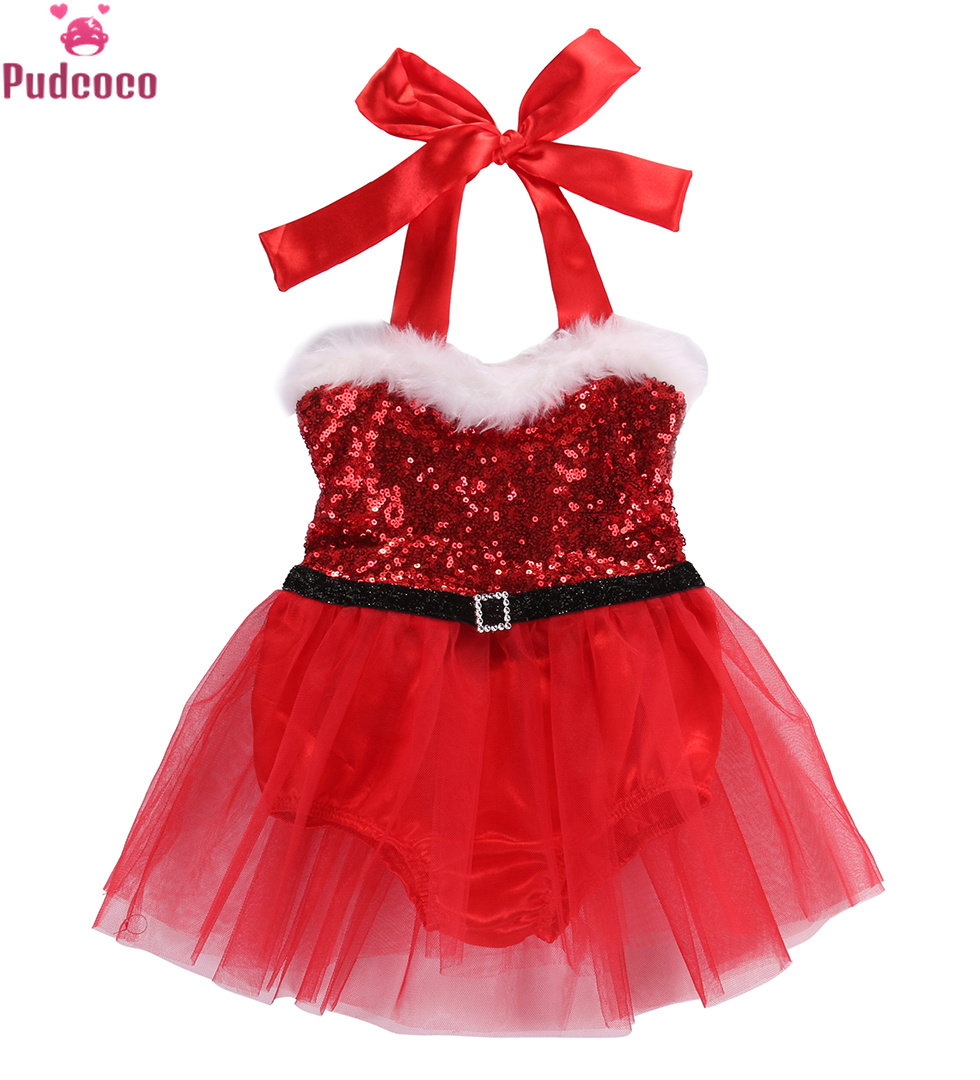 Newborn Kids Clothes Baby Girls   Rompers   Dress Santa Claus Sequin Jumpsuit Christmas Outfits Costume Bebe Baby Clothing