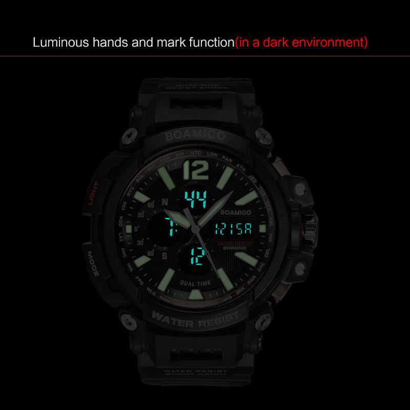 BOAMIGO Marke Männer Sport Digital Analog Uhren männer LED Dual Time Uhr Wasserdicht Schock Armbanduhren Relogio Masculino