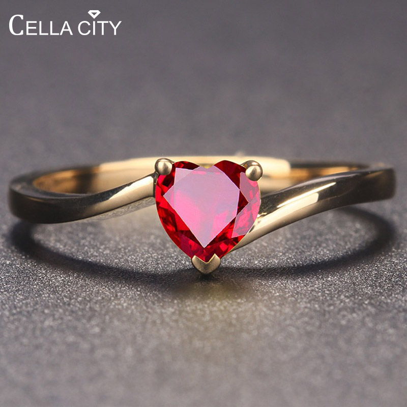Cellacity 925 Silver Ruby Ring Heart Shape Red/blue Color Engagement Rings For Charm Women Fashion  Jewelry Wholesale Gift