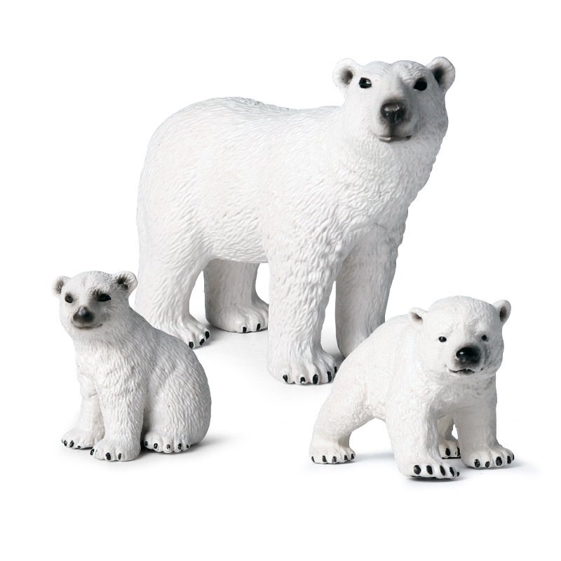 Solid Polar Bear Family Animal Figure Collectible Toys Wild Animal Action Figures Kids Plastic Cement Toys