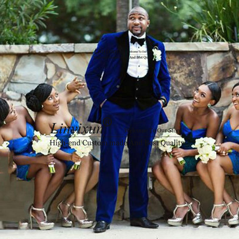 Royal Blue Velvet Smoking Jacket Wedding Suits For Men Blazer Groom Tuxedos Best Man Outfits 3Piece Black Peaked Costume Homme