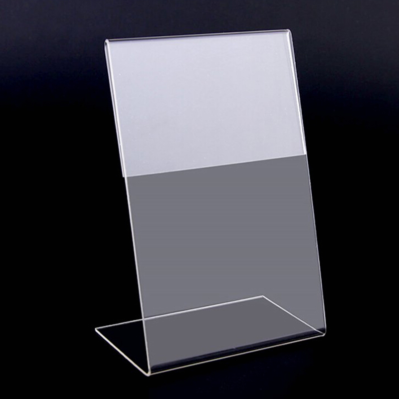 New 10pcs/lot High Quality Clear 6x9cm L Shape Acrylic Table Sign Price Tag Label Display Paper Promotion Card Holder Stand
