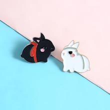 Cute Cartoon Couple Rabbit Lapel Enamel Pins Black White Valentine's Day present Brooches Badges Women Pins Jewelry wholesale