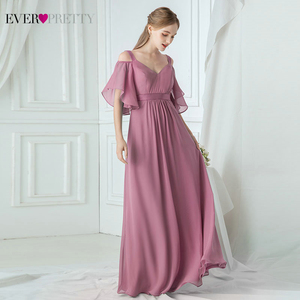 Image 2 - Ever Pretty Elegant Pink Evening Dresses Long A Line Off The Shoulder V Neck Sexy Formal Party Gowns EP07871PK Abendkleider 2020