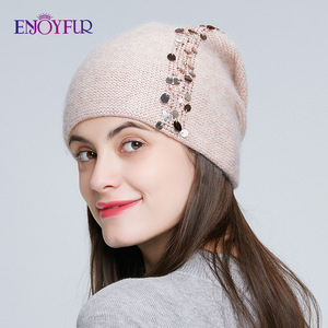 Image 2 - ENJOYFUR Winter knitted double layer hats for women fashion sequins and rhinestones  beanies female thick warm 2019 new caps