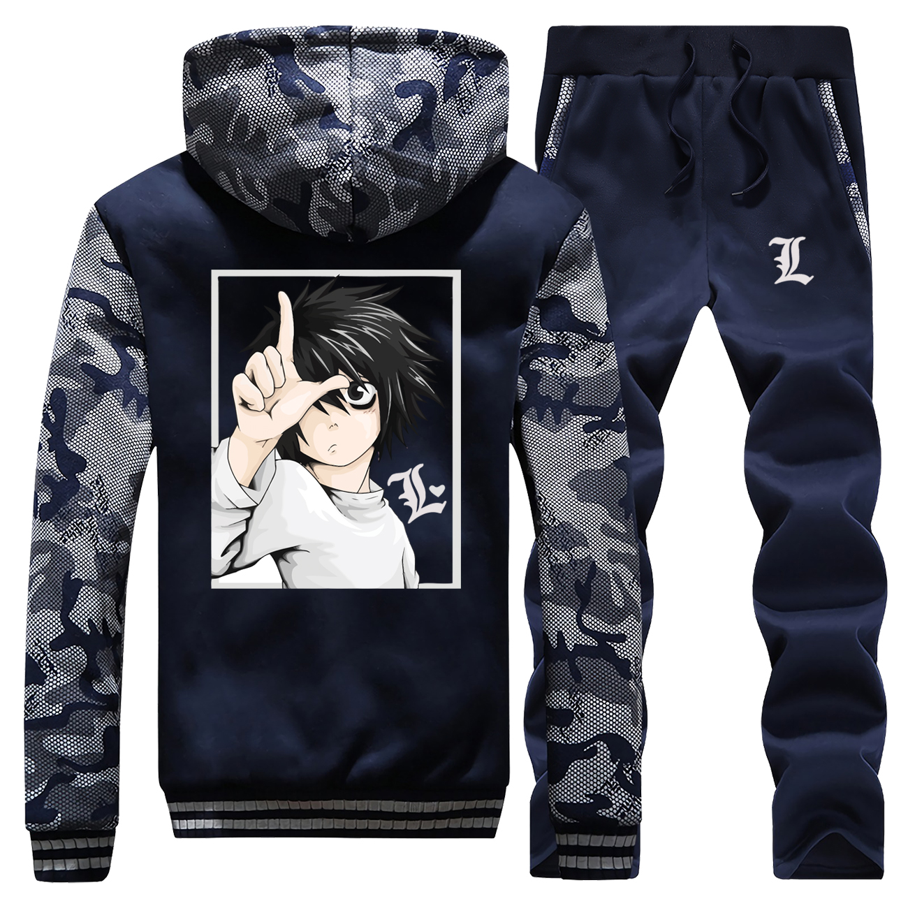 Winter New 2019 Cartoon Mens Hoodie Japan Anime Death Note Camouflage Casual Hoodies Coat Thick Streetwear+2 Piece Set Pants