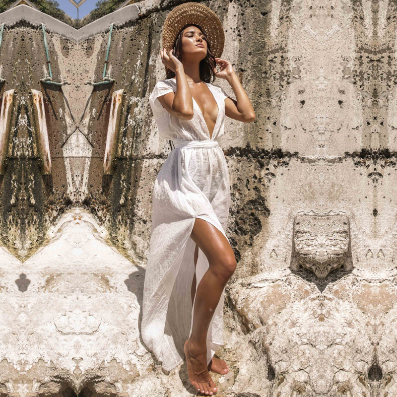 Summer White Beach Dress Women 2019 Bohemain V Neck Bow Backless Sexy Long Dresses Holiday Short Sleeved Splited Dress in Dresses from Women 39 s Clothing
