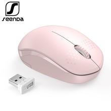 SeenDa Noiseless Mouse Wireless 2.4Gปุ่มErgonomic Mute Miceสำหรับคอมพิวเตอร์แล็ปท็อปสำหรับเดสก์ท็อปโน้ตบุ๊คPC Mause