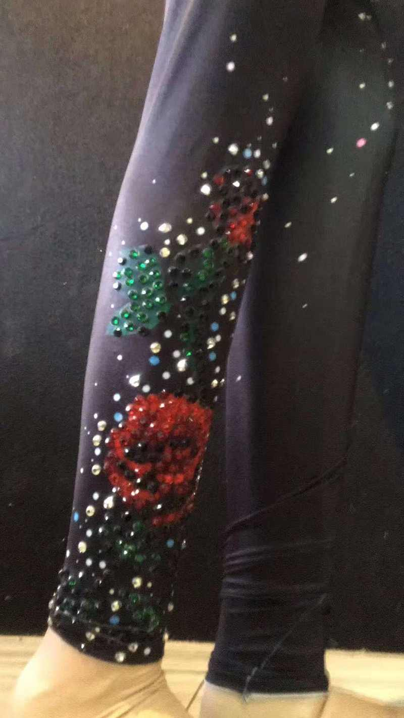 Новый сексуальный полный стразы на сетчатой основе комбинезон с длинным рукавом стрейч Роза певица костюм женский танец День рождения наряд женщина Бесплатная доставка