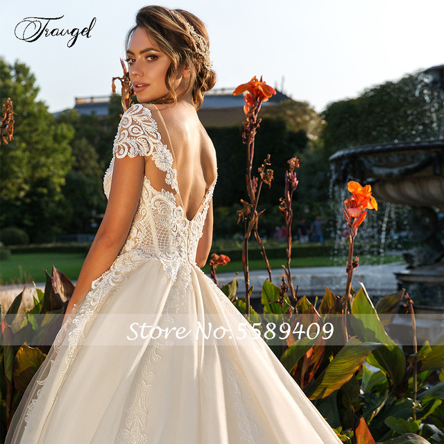 Traugel Scoop A Line Lace Wedding Dresses Chic Applique Short Sleeve Backless Bride Dress Cathedral Train Bridal Gown Plus Size 3