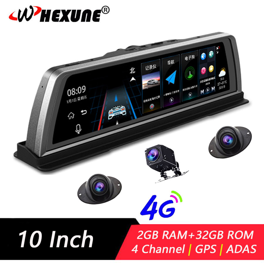 "WHEXUNE 4G ADAS dash board 4 Channel Car DVR Camera Video Recorder Mirror 10"" Media Rearview Mirror Android Dash Cam FHD 1080P"