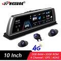 Whexune 4g adas traço placa 4 canais dvr carro câmera gravador de vídeo espelho 10