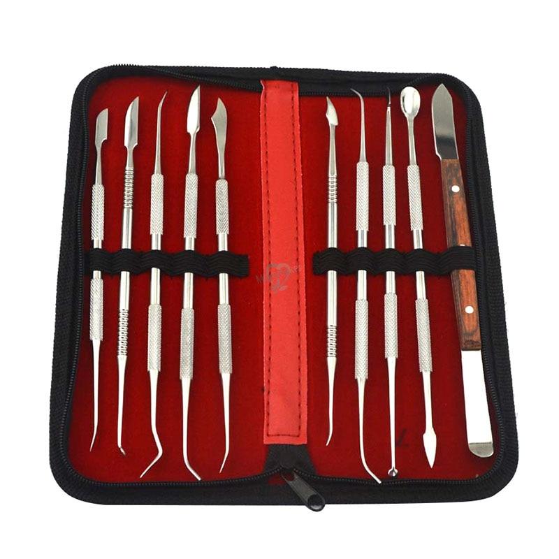 10 pcs/set Dental Lab Equipment Carving Tools Set Surgical Sculpture Instruments Tool Kit