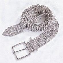 New Female Fashion Luxury Rhinestone For Women Wide Belt Silver Bride Wedding Crystal Diamond Waist Chain Belts Barry.Wang1017