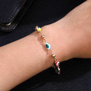 Image 2 - Gold Color Plated Blue Evil Eye Crystal Muslim Charm Islam Bracelets for Women Fashion Jewelry 3 Turkish Blue Eye Bracelet