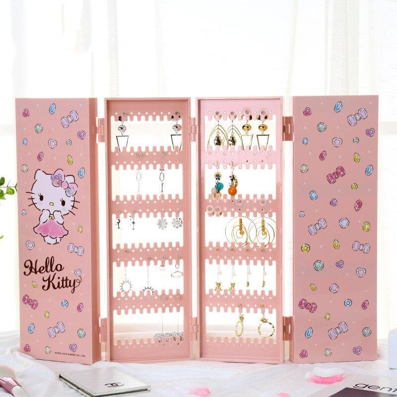 Hello Kitty boîte à bijoux classique paravent en plastique boucle d'oreille boîte de rangement poussière suspendus bijoux présentoir étagères en plastique
