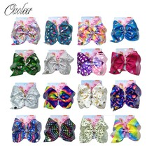 Oaoleer Hair Accessories 8 Inch JOJO BOWS for Girls Large Bows Print Ribbon Hairgrips Handmade