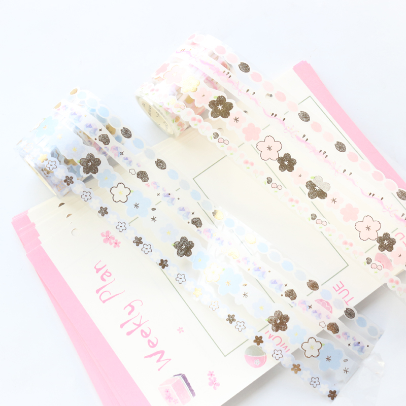 Domikee Cute New Candy Japanese Gold Foil Washi Tapes Rolls Set Kawaii School Student Decoration DIY Masking Tapes Stationery